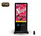 55 inch mobile standing lcd advertising display for public information