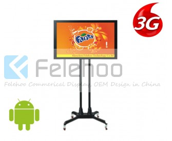 32 inch kiosk 3g/4g digital signage media player with mobile wheels
