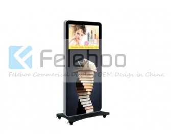 24 inch kiosk lcd advertising player with mobile wheels brakcet