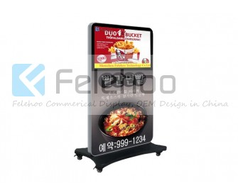 stand floor lcd advertising player with mobile wheels for 42 inch