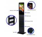 21.5 inch Free standing lcd advertising display totem with brochure holder