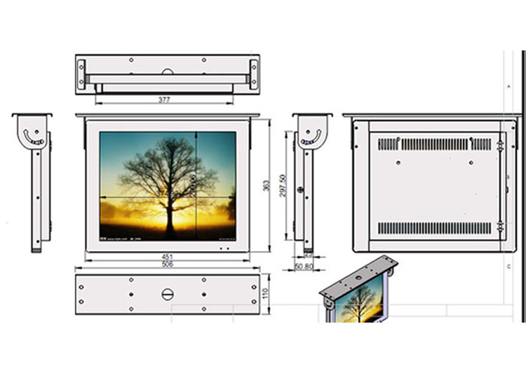 19 inch bus lcd advertising player video display monitor drawing design size