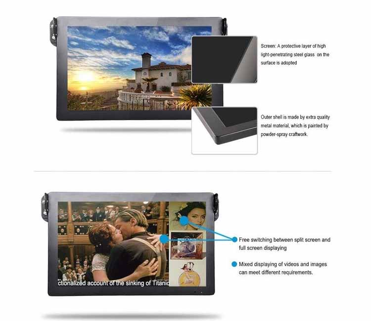 Bus advertising video player with lcd screen monitor