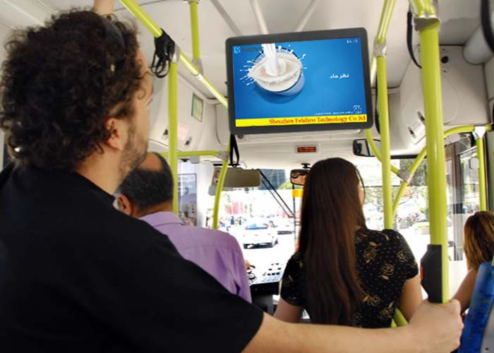 Felehoo sell 19inch Bus advertising TV digital signage back mount on bus