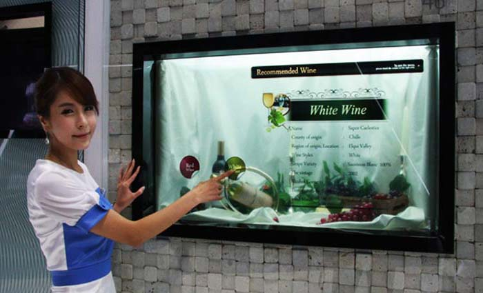 transparent display with smart multi touch screen for sale transparent digital display