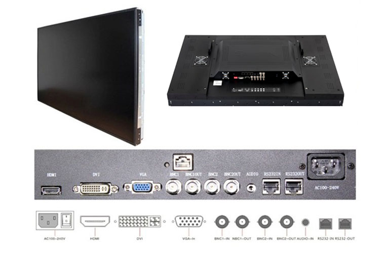 lcd video wall monitor input output interface with RS232,HDMI,BNC,VGA cheap on sale