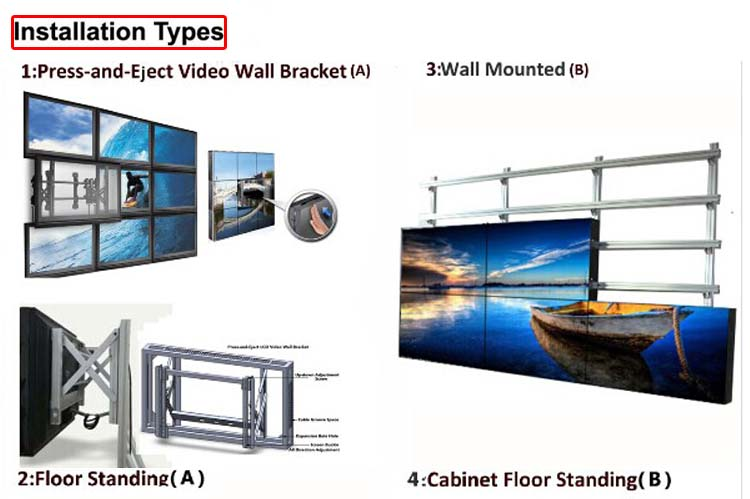 large video wall with multi setup brackes
