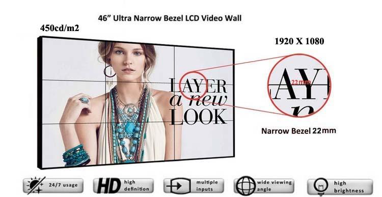 Cheap Video Wall Price 46inch 3X3 lcd video walls 20mm