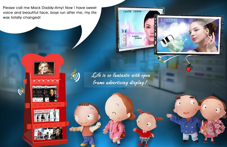"10""open frame lcd advertising player-POP display with usb/sd I/O supplier manufacturer-Felehoo.com"