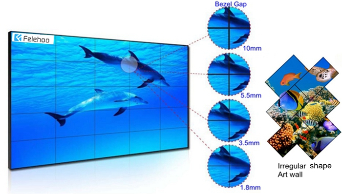 Felehoo lcd video wall monitors with various super narrow bezel and zero bezel video wall display for choice