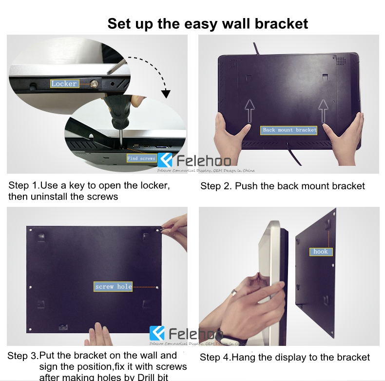 wall mount easy bracket set up for advertising display android digital singae