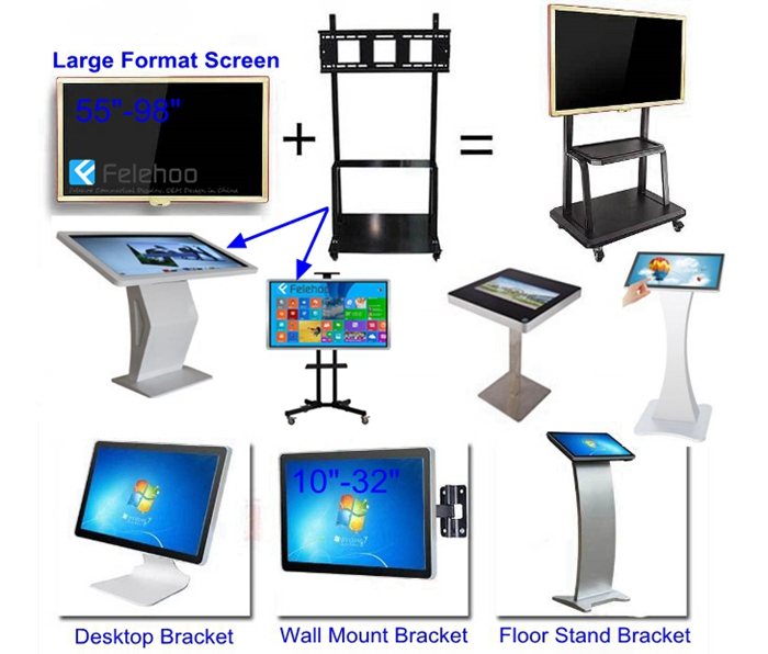 Felehoo AIO multi-touch screen display kiosk with various cabinet and mount style