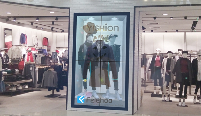 Transparent LCD display showcase lcd video wall for cloth store
