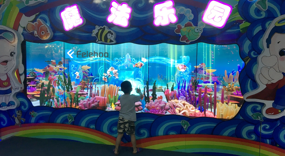 "55"" 1X5 multi touch screen lcd video wall system for virtual aquarium game"