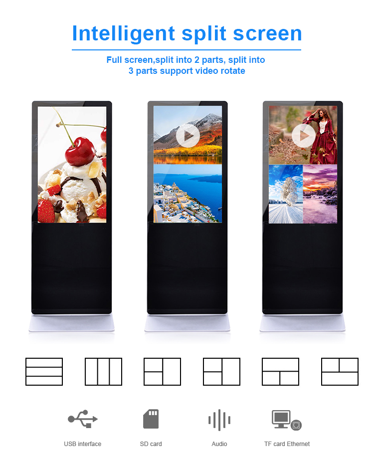 floor standing lcd advertising digital signage player usb plug